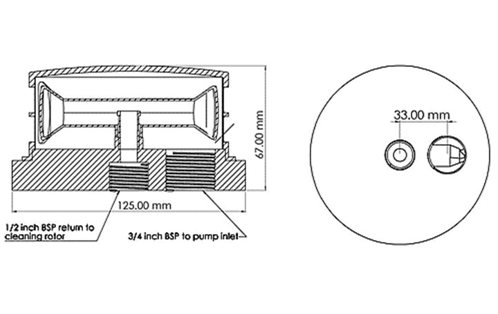 RF100 Single: strainer dimensions