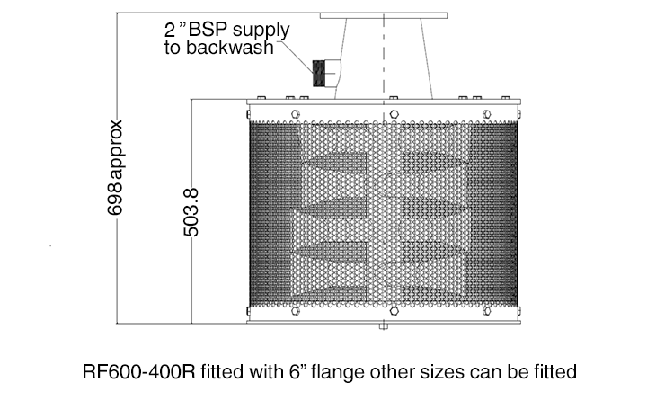 Inlet filter drawing side view RF600